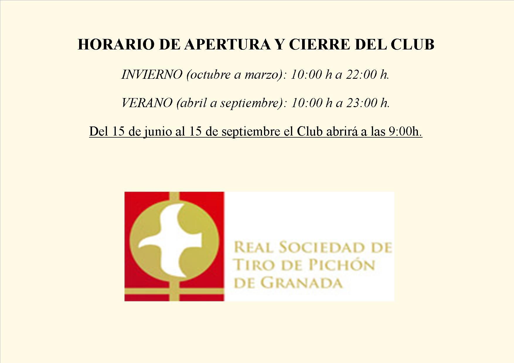 HORARIO DE APERTURA Y CIERRE DEL CLUB